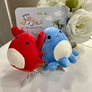 """NWT Squishmallow Pet Collection 4"""" Crab & Octopus"""